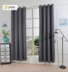 DIHINHOME Home Textile Modern Curtain DIHIN HOME Simple Black Printed,Blackout Grommet Window Curtain for Living Room ,52x63-inch,1 Panel