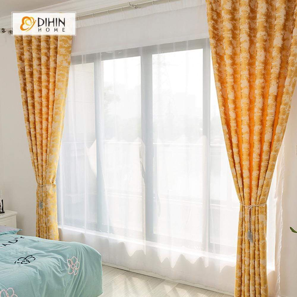 DIHINHOME Home Textile Modern Curtain DIHIN HOME Simple Golden Pattern Printed,Blackout Grommet Window Curtain for Living Room ,52x63-inch,1 Panel