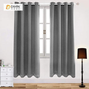 DIHINHOME Home Textile Modern Curtain DIHIN HOME Simple Grey Printed,Blackout Grommet Window Curtain for Living Room ,52x63-inch,1 Panel