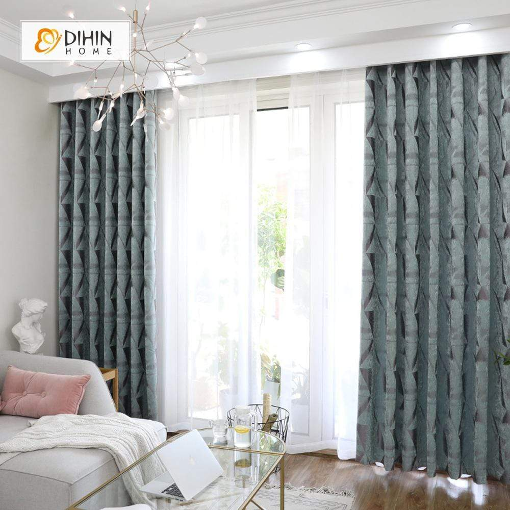 DIHINHOME Home Textile Modern Curtain DIHIN HOME Simple Pattern Printed,Blackout Grommet Window Curtain for Living Room ,52x63-inch,1 Panel
