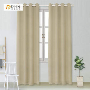 DIHINHOME Home Textile Modern Curtain DIHIN HOME Simple Solid Beige Printed,Blackout Grommet Window Curtain for Living Room ,52x63-inch,1 Panel
