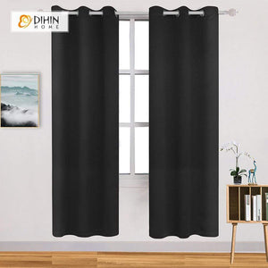 DIHINHOME Home Textile Modern Curtain DIHIN HOME Simple Solid Black Printed,Blackout Grommet Window Curtain for Living Room ,52x63-inch,1 Panel