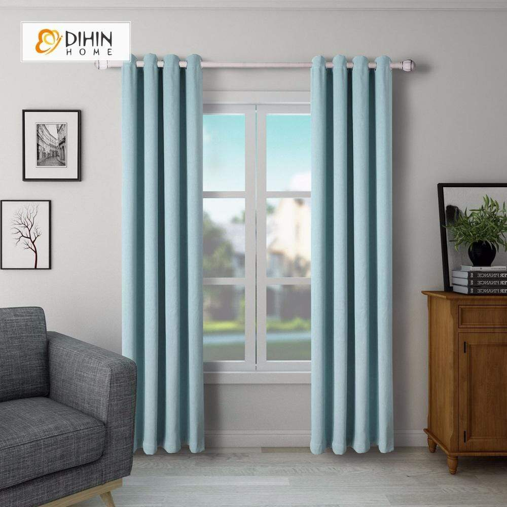 DIHINHOME Home Textile Modern Curtain DIHIN HOME SImple Solid Blue Printed,Blackout Grommet Window Curtain for Living Room ,52x63-inch,1 Panel