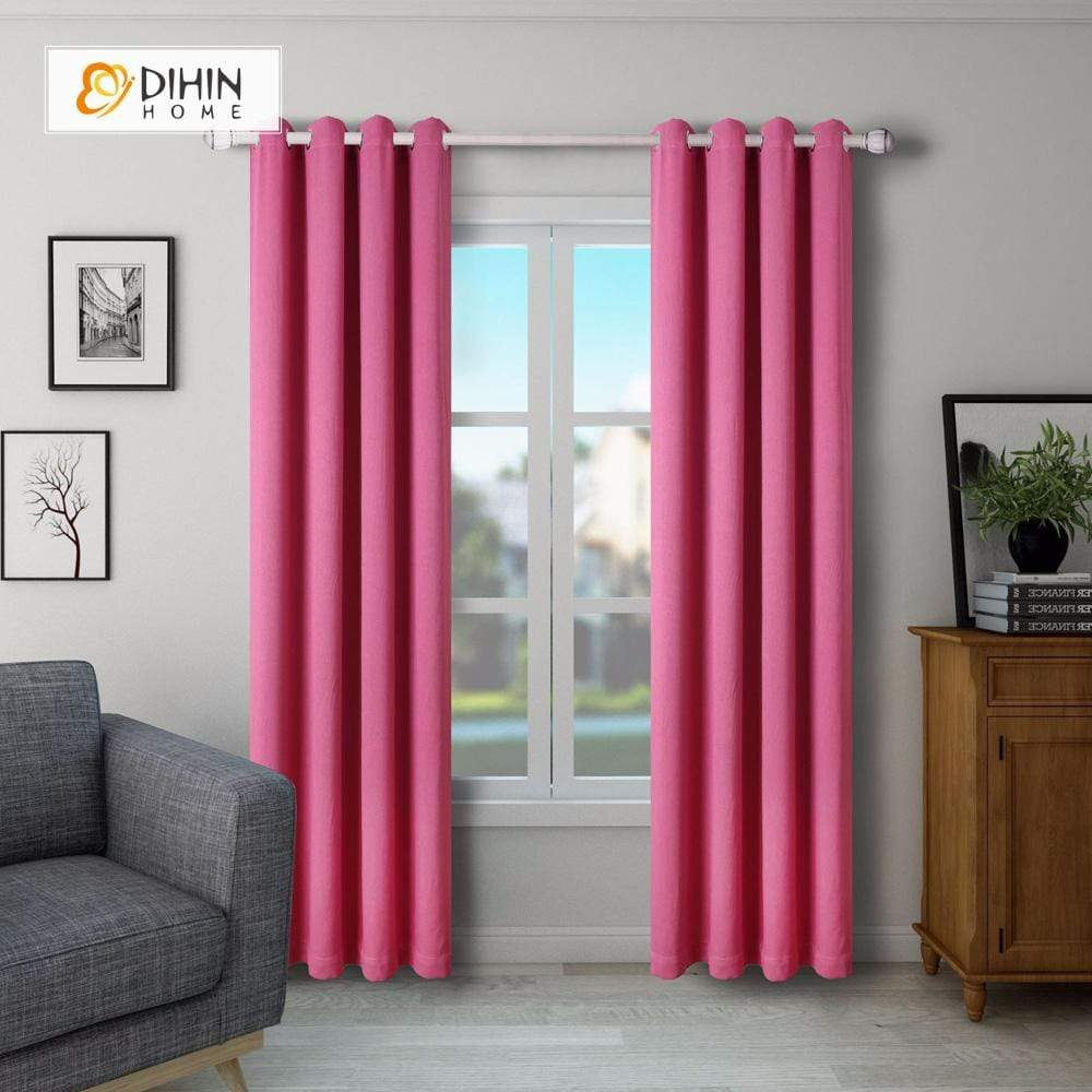 DIHINHOME Home Textile Modern Curtain DIHIN HOME SImple Solid Red Printed,Blackout Grommet Window Curtain for Living Room ,52x63-inch,1 Panel