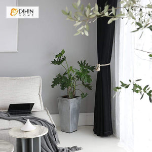 DIHINHOME Home Textile Modern Curtain DIHIN HOME Solid Black Printed,Blackout Grommet Window Curtain for Living Room ,52x63-inch,1 Panel