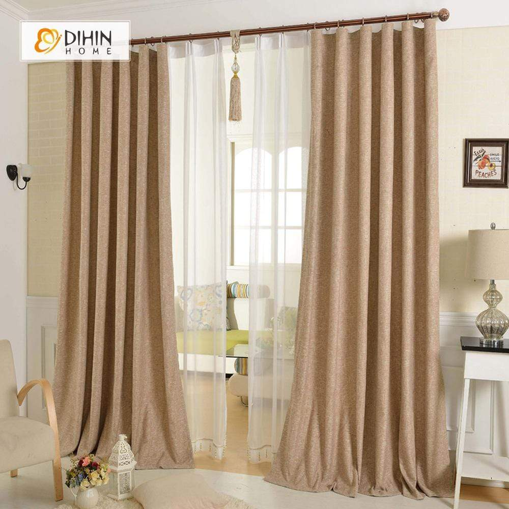 DIHINHOME Home Textile Modern Curtain DIHIN HOME Solid Brown Printed,Blackout Grommet Window Curtain for Living Room ,52x63-inch,1 Panel