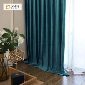 DIHINHOME Home Textile Modern Curtain DIHIN HOME Solid Cyan Printed,Blackout Grommet Window Curtain for Living Room ,52x63-inch,1 Panel