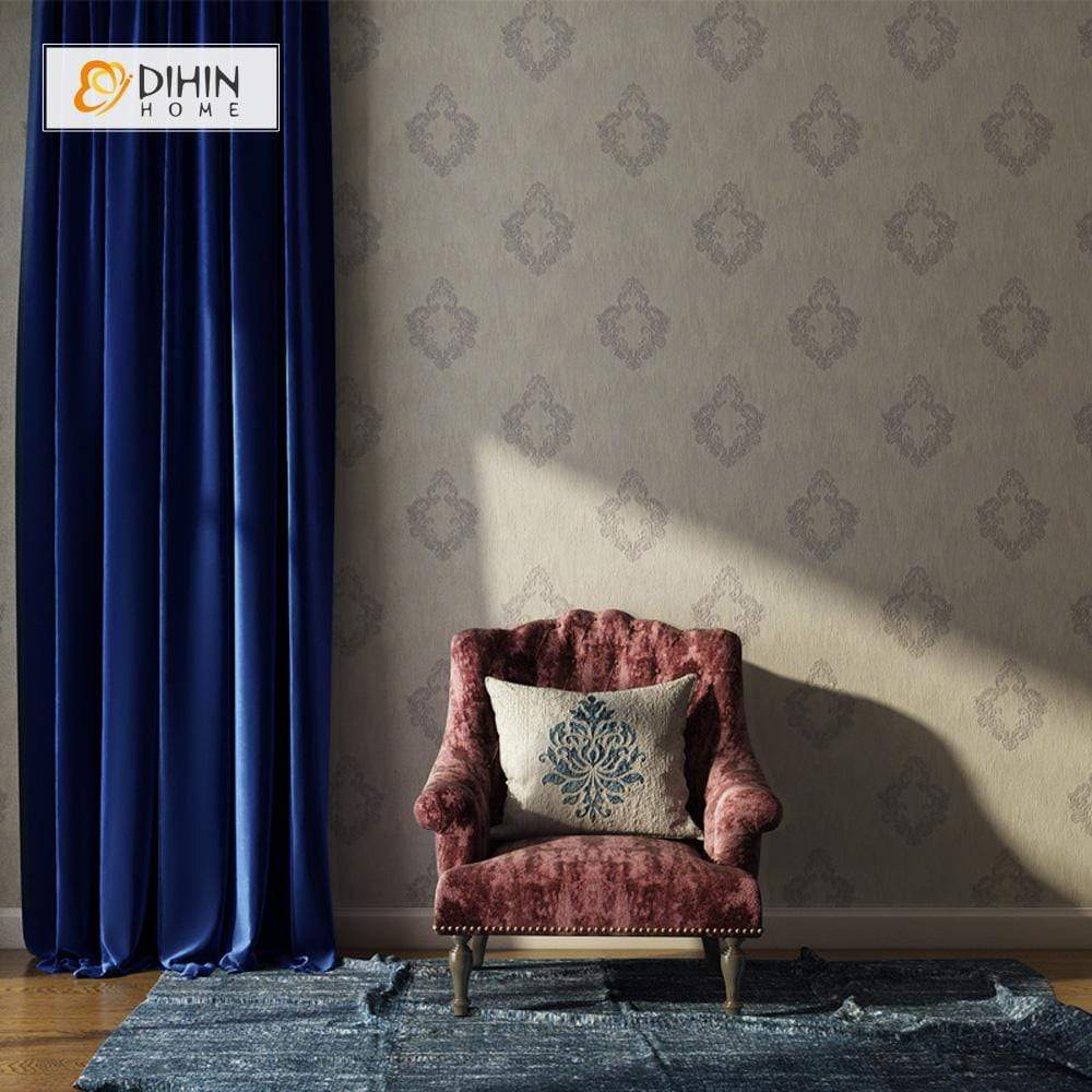 DIHINHOME Home Textile Modern Curtain DIHIN HOME Solid Dark Blue Printed,Blackout Grommet Window Curtain for Living Room ,52x63-inch,1 Panel