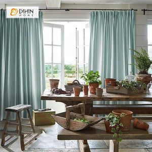 DIHINHOME Home Textile Modern Curtain DIHIN HOME Solid Light Blue Printed,Blackout Grommet Window Curtain for Living Room ,52x63-inch,1 Panel