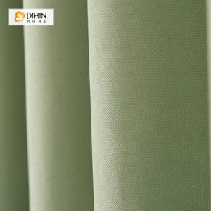DIHINHOME Home Textile Modern Curtain DIHIN HOME Solid Natural Green Printed,Blackout Grommet Window Curtain for Living Room ,52x63-inch,1 Panel