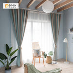 DIHINHOME Home Textile Modern Curtain DIHIN HOME  Stripe Colors Printed ,Cotton Linen ,Blackout Grommet Window Curtain for Living Room ,52x63-inch,1 Panel