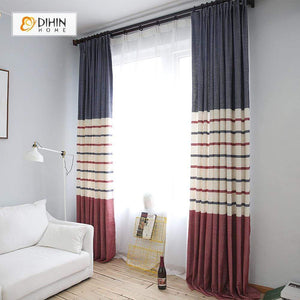 DIHINHOME Home Textile Modern Curtain DIHIN HOME Stripes And Pure Color Printed,Blackout Grommet Window Curtain for Living Room ,52x63-inch,1 Panel