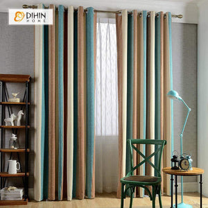 DIHINHOME Home Textile Modern Curtain DIHIN HOME Three Warm Color Printed,Blackout Grommet Window Curtain for Living Room ,52x63-inch,1 Panel