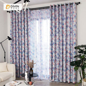 DIHINHOME Home Textile Modern Curtain DIHIN HOME Triangle Blue Printed,Blackout Grommet Window Curtain for Living Room ,52x63-inch,1 Panel