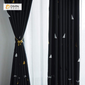 DIHINHOME Home Textile Modern Curtain DIHIN HOME Triangle Embroidered,Blackout Grommet Window Curtain for Living Room ,52x63-inch,1 Panel