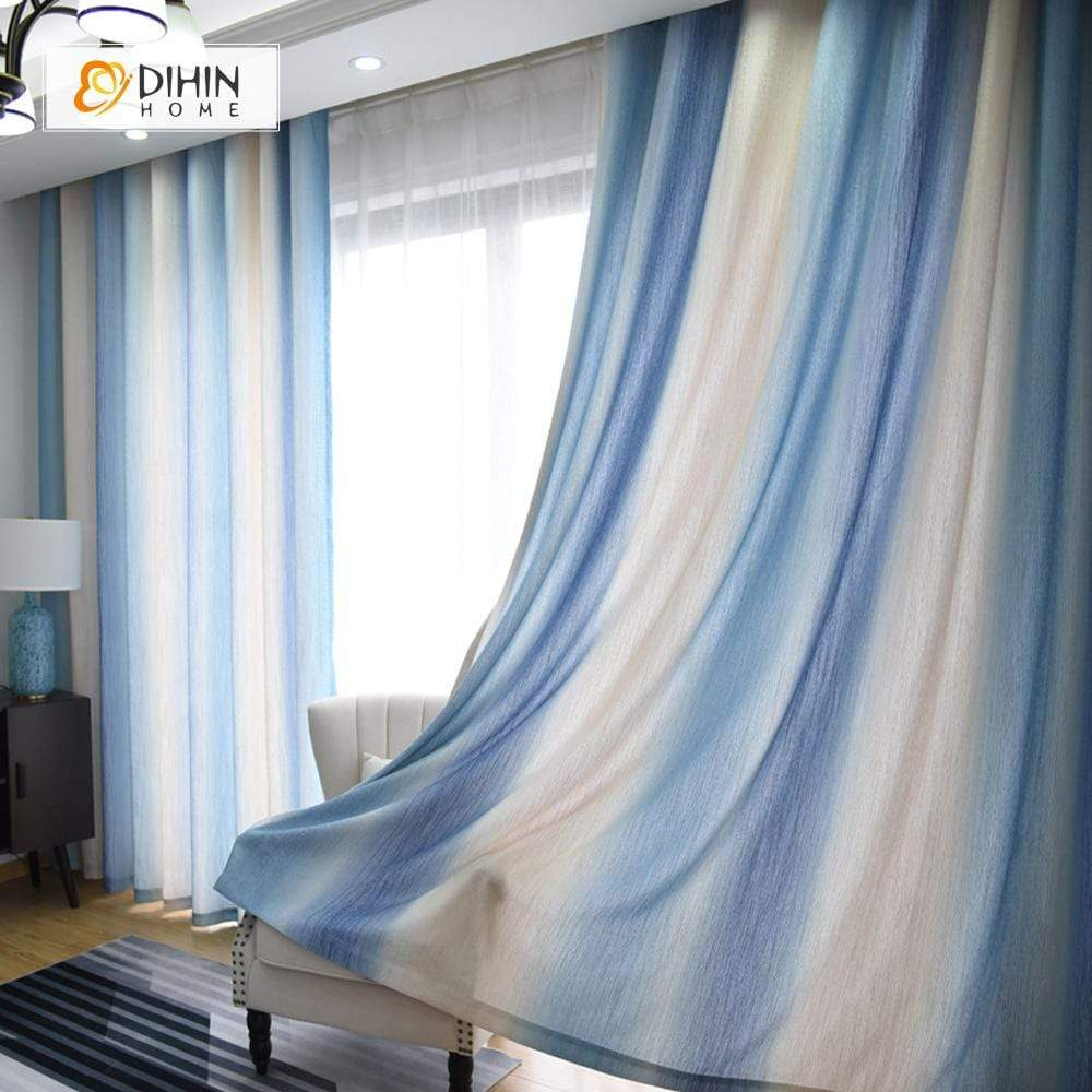 DIHINHOME Home Textile Modern Curtain DIHIN HOME Various Blue Printed,Blackout Grommet Window Curtain for Living Room ,52x63-inch,1 Panel