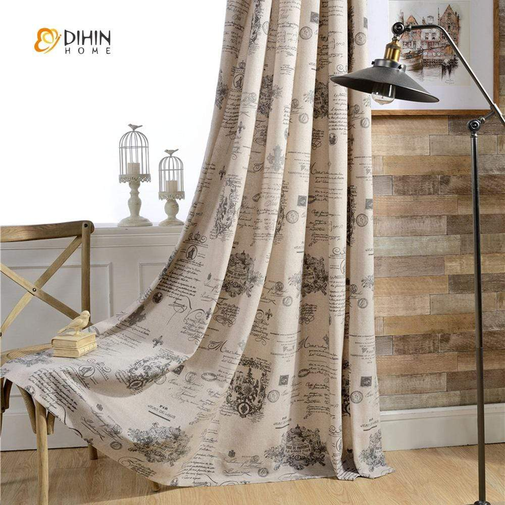 DIHINHOME Home Textile Modern Curtain DIHIN HOME Vintage Newspaper Printed Curtains ,Cotton Linen ,Blackout Grommet Window Curtain for Living Room ,52x63-inch,1 Panel