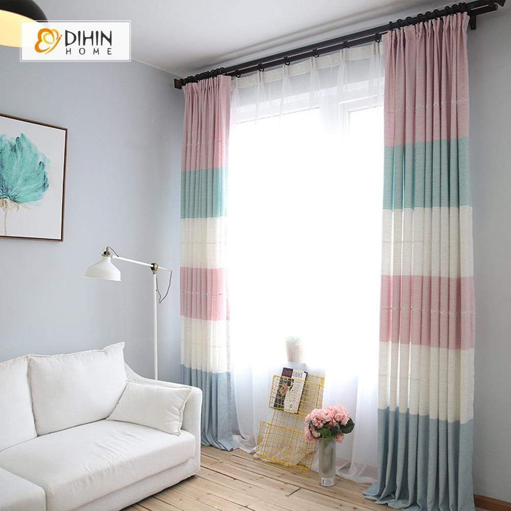 DIHINHOME Home Textile Modern Curtain DIHIN HOME Warm Colors Stripes Printed,Blackout Grommet Window Curtain for Living Room ,52x63-inch,1 Panel