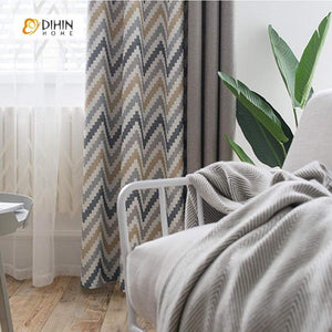 DIHINHOME Home Textile Modern Curtain DIHIN HOME Wave Pattern Printed,Blackout Grommet Window Curtain for Living Room ,52x63-inch,1 Panel