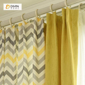 DIHINHOME Home Textile Modern Curtain DIHIN HOME Yellow and Black Stripes Printed,Blackout Grommet Window Curtain for Living Room ,52x63-inch,1 Panel