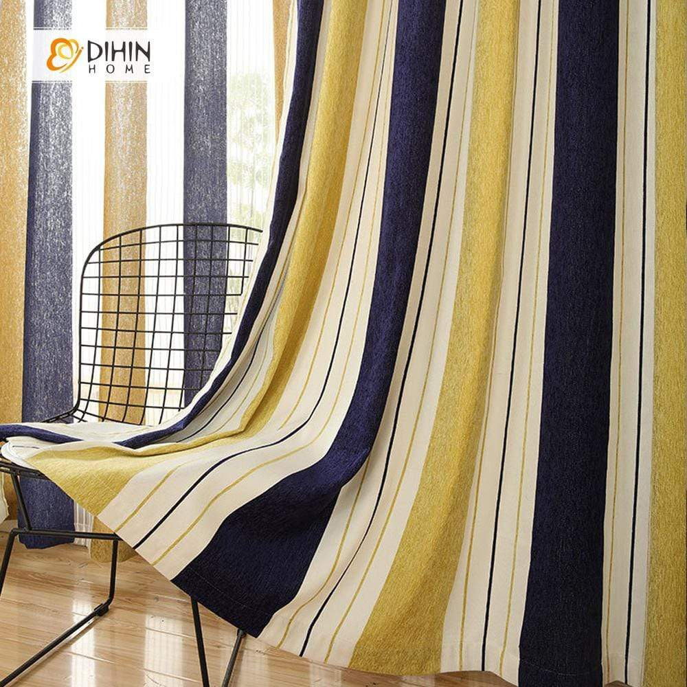 DIHINHOME Home Textile Modern Curtain DIHIN HOME Yellow Beige Blue Curtain ,Blackout Grommet Window Curtain for Living Room ,52x63-inch,1 Panel