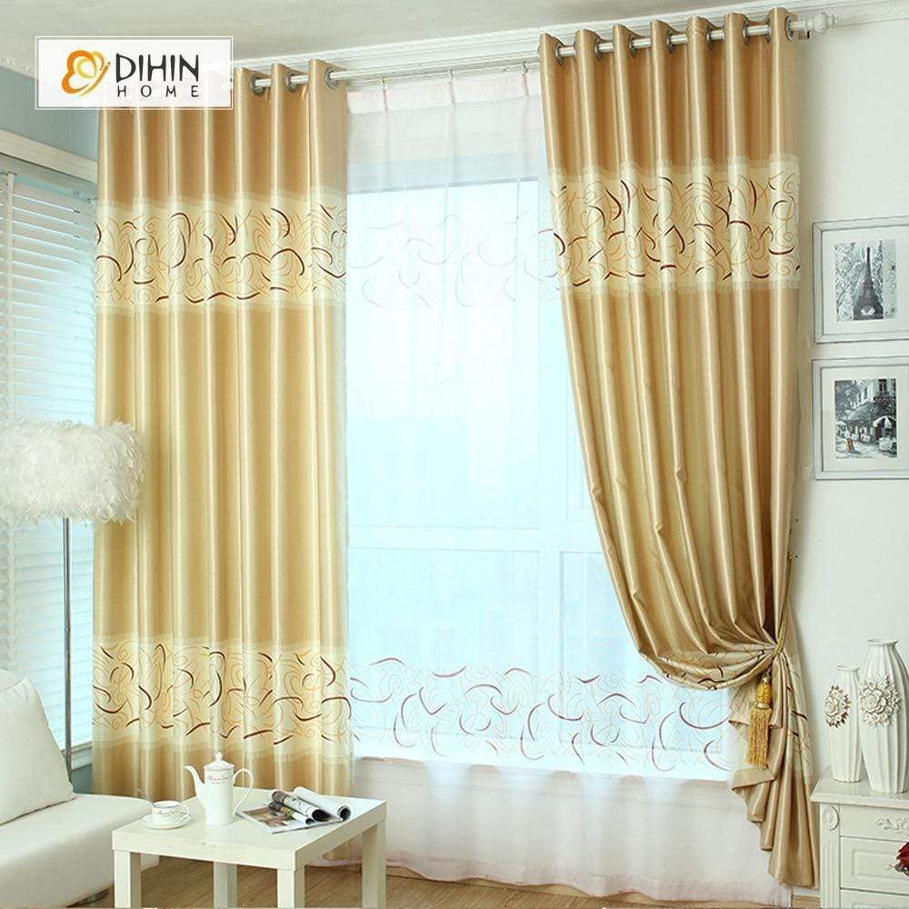 DIHINHOME Home Textile Modern Curtain DIHIN HOME Yellow Curve Printed,Blackout Grommet Window Curtain for Living Room ,52x63-inch,1 Panel