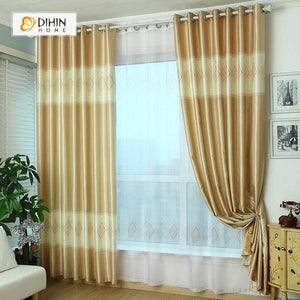 DIHINHOME Home Textile Modern Curtain DIHIN HOME Yellow Diamond Shape Printed,Blackout Grommet Window Curtain for Living Room ,52x63-inch,1 Panel