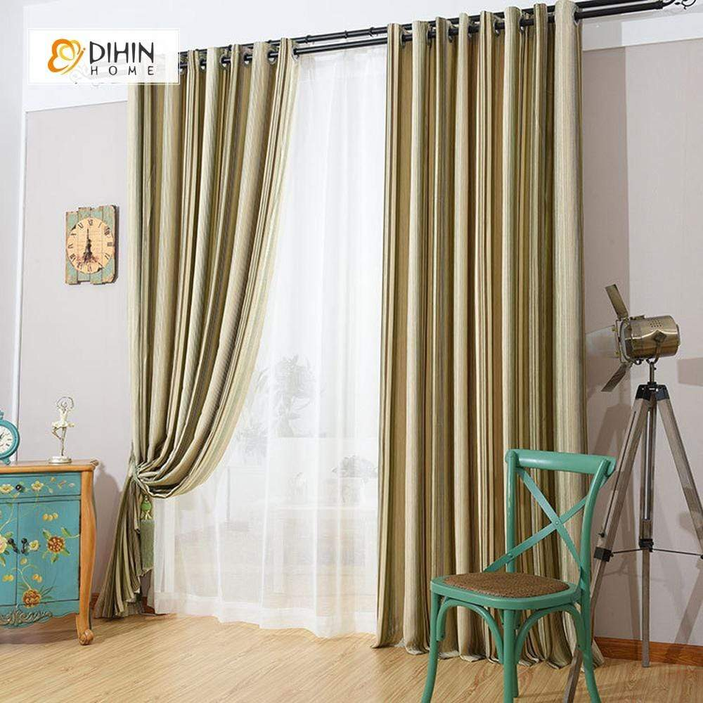 DIHIN HOME Yellow Lines Printed Curtain,Blackout Grommet Window Curtain for Living Room ,52x63-inch,1 Panel