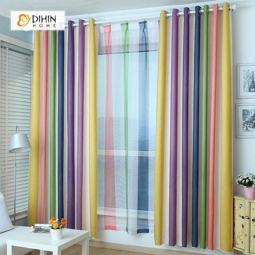 DIHINHOME Home Textile Modern Curtain DIHIN HOME Yellow Rainbow Printed,Blackout Grommet Window Curtain for Living Room ,52x63-inch,1 Panel