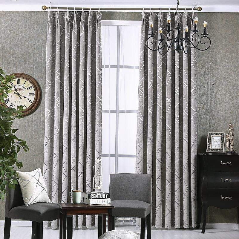 Modern Grey High Blackout Curtains Window Shade For Living Room