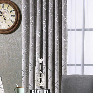 Modern Grey High Blackout Curtains Window Shade For Living Room - DIHINHOME Home Textile
