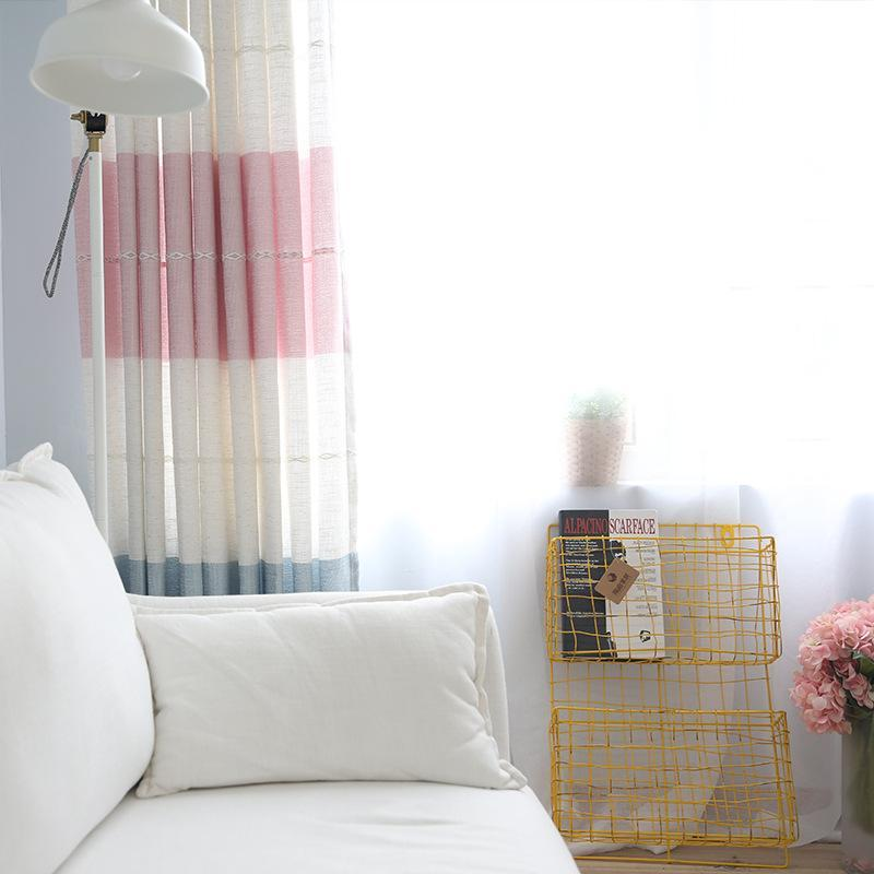 DIHINHOME Home Textile Modern Curtain Modern Striped Cotton Linen Custom Made Blackout Curtains Window Treatment
