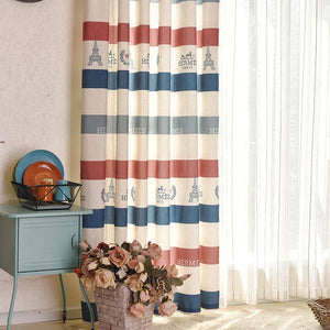 Modern Striped Town Printed Blackout Curtains Cactus Embroidered Window Drapes