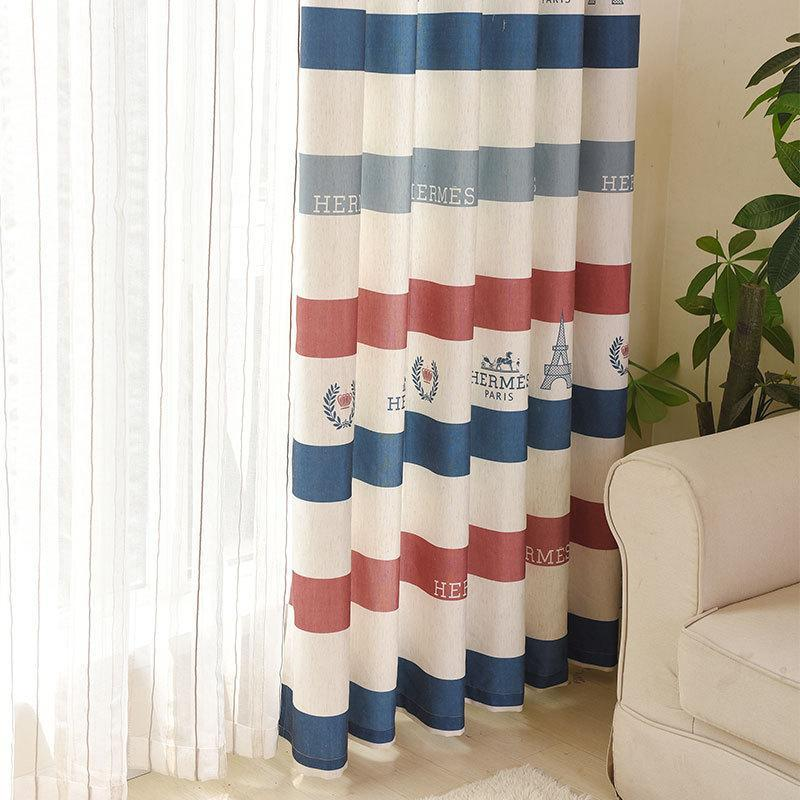 DIHINHOME Home Textile Modern Curtain Modern Striped Town Printed Blackout Curtains Cactus Embroidered Window Drapes