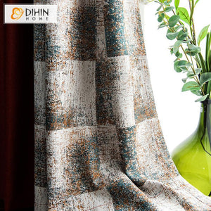DIHINHOME Home Textile Pastoral Curtain Copy of DIHIN HOME Garden Leaves Printed Spliced Curtains,Blackout Grommet Window Curtain for Living Room ,52x63-inch,1 Panel