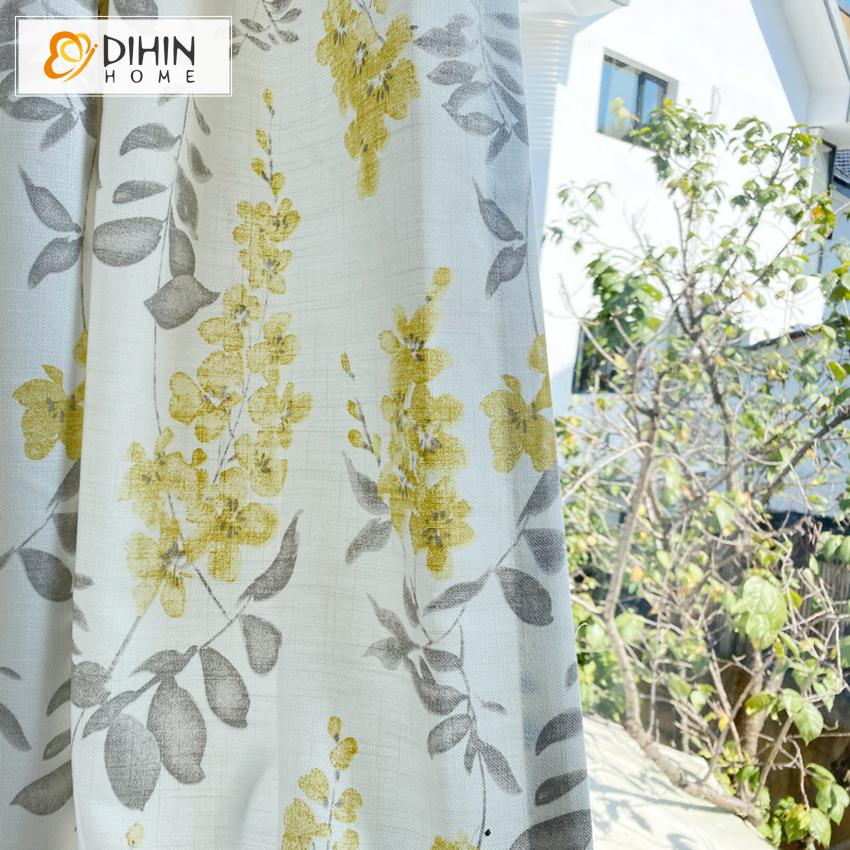 DIHINHOME Home Textile Pastoral Curtain Copy of DIHIN HOME Pastoral Bird and Flower Printed,Blackout Grommet Window Curtain for Living Room ,52x63-inch,1 Panel