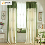 DIHINHOME Home Textile Pastoral Curtain Copy of DIHIN HOME Pastoral Green Color Natural Plants Printed,Blackout Grommet Window Curtain for Living Room ,52x63-inch,1 Panel