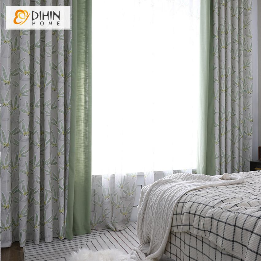 DIHINHOME Home Textile Pastoral Curtain Copy of DIHIN HOME Pastoral Natural Leaves Printed,Blackout Grommet Window Curtain for Living Room ,52x63-inch,1 Panel