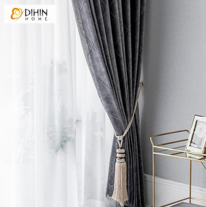 DIHINHOME Home Textile Pastoral Curtain Copy of DIHIN HOME  White Rattan Embroidered ,Cotton Linen ,Blackout Grommet Window Curtain for Living Room ,52x63-inch,1 Panel