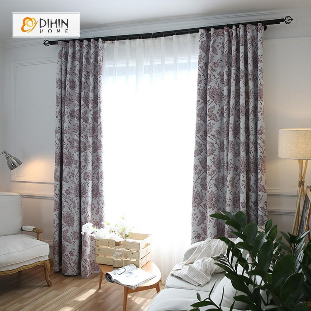 DIHINHOME Home Textile Pastoral Curtain DIHIN HOME Abstract Leaves Printed,Blackout Grommet Window Curtain for Living Room ,52x63-inch,1 Panel