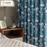 DIHINHOME Home Textile Pastoral Curtain DIHIN HOME American Pastoral Blue Flowers Printed,Blackout Grommet Window Curtain for Living Room ,52x63-inch,1 Panel
