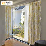 DIHINHOME Home Textile Pastoral Curtain DIHIN HOME American Pastoral Cotton Linen Yellow Flowers Printed,Blackout Grommet Window Curtain for Living Room ,52x63-inch,1 Panel