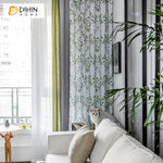 DIHINHOME Home Textile Pastoral Curtain DIHIN HOME American Pastoral Green Leaves Printed,Blackout Grommet Window Curtain for Living Room ,52x63-inch,1 Panel