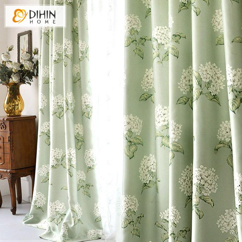 DIHINHOME Home Textile Pastoral Curtain DIHIN HOME American Pastoral White Flowers Printed,Blackout Grommet Window Curtain for Living Room ,52x63-inch,1 Panel