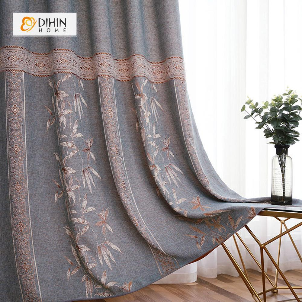 DIHINHOME Home Textile Pastoral Curtain DIHIN HOME Bamboo In the Bottom Printed,Blackout Grommet Window Curtain for Living Room ,52x63-inch,1 Panel