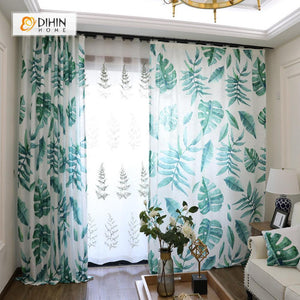 DIHINHOME Home Textile Pastoral Curtain DIHIN HOME Banana Leaves Printed,Blackout Grommet Window Curtain for Living Room ,52x63-inch,1 Panel