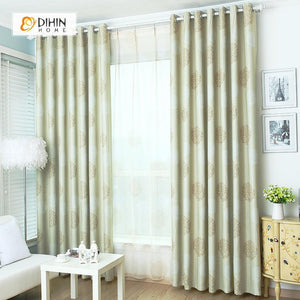 DIHINHOME Home Textile Pastoral Curtain DIHIN HOME  Beige Dandelion leaf Printed,Blackout Grommet Window Curtain for Living Room ,52x63-inch,1 Panel