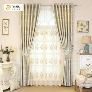 DIHINHOME Home Textile Pastoral Curtain DIHIN HOME Beige Pastoral Printed,Blackout Grommet Window Curtain for Living Room ,52x63-inch,1 Panel
