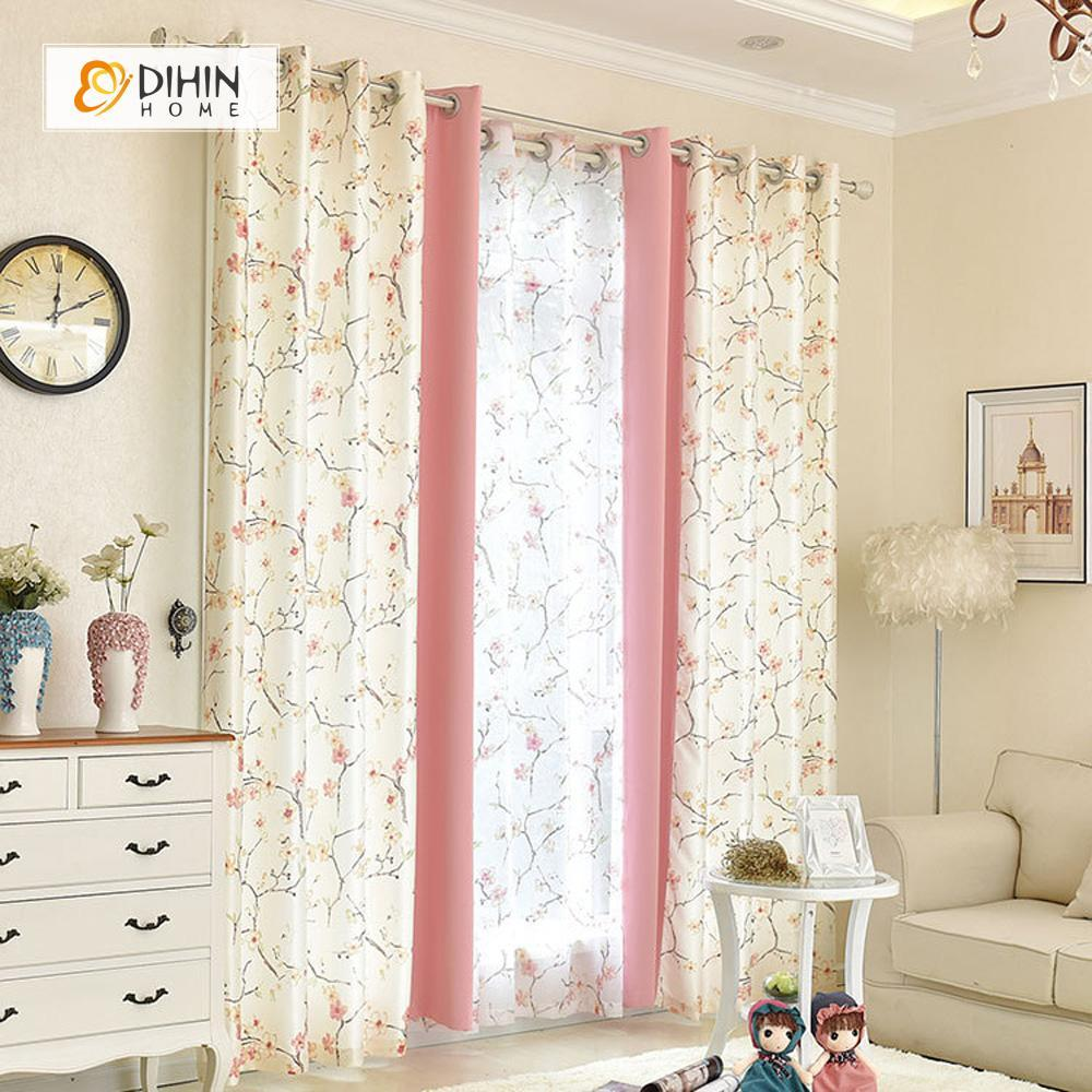 DIHINHOME Home Textile Pastoral Curtain DIHIN HOME Beige Peachblossom Printed,Blackout Grommet Window Curtain for Living Room ,52x63-inch,1 Panel
