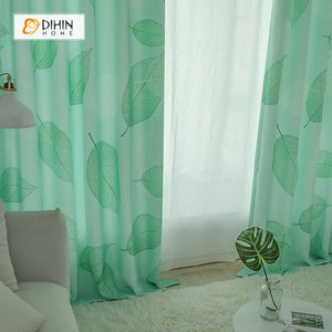 DIHINHOME Home Textile Pastoral Curtain DIHIN HOME Big Green Leaves Printed ,Polyester  ,Blackout Grommet Window Curtain for Living Room ,52x63-inch,1 Panel